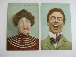Lot De 2 Cartes D'une Même Série Grimace - Postcards