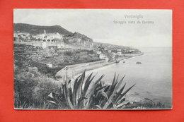 Cartolina Ventimiglia - Spiaggia Vista Da Levante - 1910 Ca. - Imperia