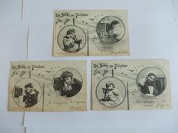 Lot De 3 Cartes D'une Même Série Edition Bergeret Nancy Nos Bébés Au Téléphone Allo Allo - Postcards