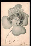Illustrateur E.M.Kantner - Portrait De Femme Dans Un Trèfle - Style Art Nouveau - 2 Scans - Illustrateurs & Photographes