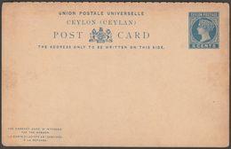 Postal Stationery, 5 Cents, Ceylon, C.1880s - Pre-Paid Postcard - Ceylon (...-1947)