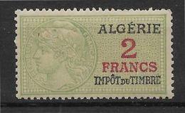 Algérie Fiscal 2 Francs - Petites Adhérences Sinon TB - Argelia (1924-1962)