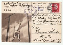 1948 Censor CZECHOSLOVAKIA Illus STATIONERY Card GYMNASTICS Sokol , JABLONEC To AUSTRIA Censored Stamps Sport Cover - Postal Stationery