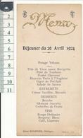 CHEDIGNY, Indre Et Loire - Menu - Déjeuner Du 26 Avril 1924 - Menu