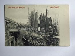 UK DURHAM Hartlepool Fish Quay Trawlers  Fisherman Old Postcard - Durham