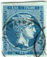 1A 102 Greece Large Hermes Head 1862 - 1867 20 Lepta Hellas 19e Blue On Green Paper - Used Stamps