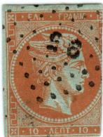 1A 132 Greece Large Hermes Head 1862-1867  10 Lepta  Hellas 18b Orange (on Paper) - 1861-86 Grands Hermes