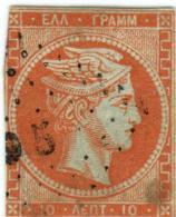 1A 144 Greece Large Hermes Head 1862-1867  10 Lepta  Hellas 18b Orange - 1861-86 Grands Hermes