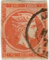 1A 214 Greece Large Hermes Head 1871-1876 Meshed Paper 10 Lepta  Hellas 40a Orange - 1861-86 Large Hermes Heads