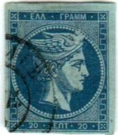 1A 216 Greece Large Hermes Head 1871-1876 Meshed Paper 20 Lepta  Hellas 41 Blue In Blue (hole) - 1861-86 Large Hermes Heads
