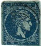 1A 223 Greece Large Hermes Head 1871-1876 Meshed Paper 20 Lepta  Hellas 41h Blue In Blue - 1861-86 Large Hermes Heads