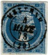 1A 237 Greece Large Hermes Head 1871-1872 20 Lepta Hellas 35c Blue - 1861-86 Large Hermes Heads