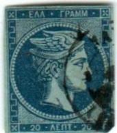 1A 250 Greece Large Hermes Head 1871-1876 Meshed Paper 20 Lepta  Hellas 41h Blue In Blue - 1861-86 Large Hermes Heads