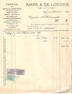 Facture + Chèque à L'Ordre De 670.80 Frs Ampe&De Lodder Thielt(Tielt) Fabriek Wolle Stoffen 1922-1923 TP Fiscaux VP71 - Belgium