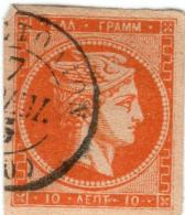 1A 513 Greece Large Hermes Head 1880-1886 Cream Paper 10 Lepta Hellas 56d Orange - 1861-86 Grands Hermes