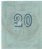 1A 790 Greece Large Hermes Head 1871-1876 Meshed Paper 20 Lepta  DEFORMED 2 Hellas 41h (thin) - Gebraucht