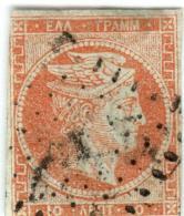 1A 859 Greece Large Hermes Head 1862-1867 10 Lepta Hellas 18b Orange - Usados