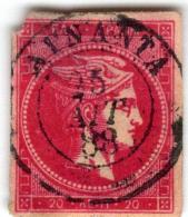 1A 901 Greece Large Hermes Head 1882 20 Lepta  Hellas 59IIa Bright Rosine - 1861-86 Grands Hermes