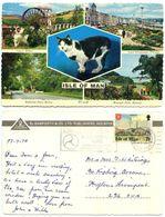 Isle Of Man 1978 Postcard Manx Cat, Laxey Wheel, Etc., Douglas To Huyton England - Insel Man