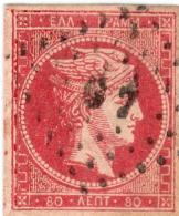 1A 1317 Greece L. Hermes H.  1862-1867 80 Lepta Pos 1 Hellas 22a Rose-carmine - 1861-86 Large Hermes Heads