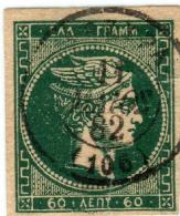1A 1394 Greece L. Hermes H. 1876-1877 60 Lep. Hellas 46bPa Dark Gren On Thn Paper - Usados