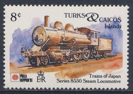 "Turks & Caicos Islands 1991 Mi 1027 ** Series ""8550"" Steam Locomotive - Japan (1899) - Phila Nippon '91 - Trains"