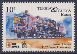 Turks & Caicos Islands 1991 Mi 1028 ** Class 57 Steam Locomotive - Japan (1937) - Phila Nippon '91 - Trains