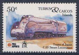 Turks & Caicos Islands 1991 Mi 1030 ** Class C55 Steam Locomotive - Japan (1935) - Phila Nippon '91 - Trains