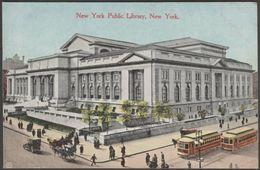 New York Public Library, New York City, 1910 - George P Hall Postcard - Manhattan