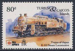Turks & Caicos Islands 1991 Mi 1032 ** Class E10 Steam Locomotive - Japan (1948) - Phila Nippon '91 - Trains