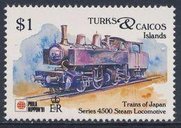 Turks & Caicos Islands 1991 Mi 1033 ** Series 4500 Steam Locomotive - Japan (1902) - Phila Nippon '91 - Trains