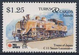 Turks & Caicos Islands 1991 Mi 1034 ** Class C11 Steam Locomotive - Japan (1932) - Phila Nippon '91 - Trains