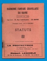 76 Le Havre Graville Statuts De 1957 De  L ' Harmonie Fanfare Gravillaise Fascicule De 6 Pages ( Format 12,2 X 15 , 8 ) - Musique & Instruments