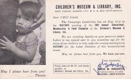 CHILDREN'S MUSEUM & LIBRARY, INC. RETURN TO SENDER. CIRCULEE TO TONDO, MANILA. PHILIPPINES-TBE-BLEUP - Kinderen