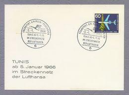 Germany 1966 Postkarte Postcard Airplane Plane Flugzeug SSt Frankfurt Tunis Im Streckennetz Der Lufthansa First Flight - Airplanes