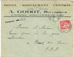 ENVELOPPE  A EN TETE HOTEL RESTAURANT CENTRAL GODOT ROMILLY SUR SEINE - Marcophilie (Lettres)
