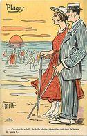 Themes Div - Ref W277- Illustrateurs - Illustrateur Griff - Couple - Plages - Le Coucher De Soleil  - Carte Bon Etat  - - Griff