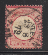 Germany 1872 Used Scott #4 1gr Imperial Eagle Variety: Broken O, H CDS '23 8 72' - Deutschland