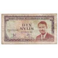 GUINEE - PICK 16 - 10 SYLIS - 1971 - TTB - Guinea