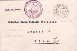 Lettre Serbie De 1918 - Cachet General Gouvernement In Serbien - Carl GF. LonYay Envoyé à Vienne - Serbie