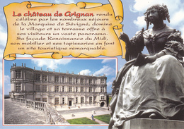 26 GRIGNAN -  CHATEAU DE GRIGNAN  ET STATUE DE MME DE SEVIGNE / PETIT TEXTE - Grignan