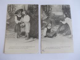 Lot De 2 Cartes D'une Même Série Deux Jeunes Filles - Postcards