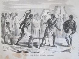 GRAVURE 1858. SOUDAN   Tribus Des  KORDOFANS  Duel à Coup De Fouet - Sudan