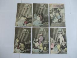 Lot De 6 Cartes D'une Même Série Famille Dans Grenier - Postcards