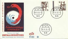 BRD Bund Unfallverhütung 10 Pfg KZ 9b 10+Z+10 FDC 10.11.1972 - FDC: Enveloppes
