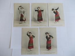 Lot De 5 Cartes D'une Même Série Danseuse Espagnole - Postcards