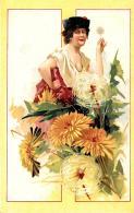 [DC11617] CPA - STUPENDA CARTOLINA ILLUSTRATA - DONNA CON FIORI - Non Viaggiata - Old Postcard - Illustratori & Fotografie