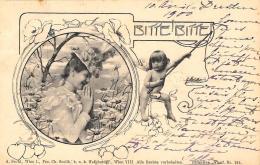 [DC11620] CPA - STUPENDA CARTOLINA ILLUSTRATA - DONNA CON PUTTO - BITTE BITTE - Viaggiata 1900 - Old Postcard - Illustratori & Fotografie