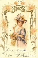 [DC11622] CPA - STUPENDA CARTOLINA ILLUSTRATA - DONNA CON FIORI - STRASSE - Viaggiata 1902 - Old Postcard - Illustratori & Fotografie