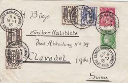 France Alsace Lettre Ste Marie Aux Mines Pour La Suisse 1945 - Alsace Lorraine